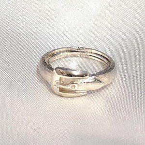 Avon Size 9 Silvertone Belt buckle Ring Fashion